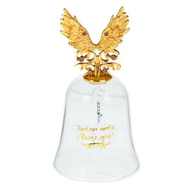 Колокольчик 880816 стекл. с фигурной ручкой «Люблю тебя, Ангел мой» в интернет-магазине Швейпрофи.рф