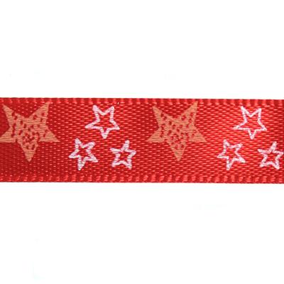 Лента атласная 10 мм ALP-102 (уп. 22,8 м) с рис. Z2/065 звездочки/красный в интернет-магазине Швейпрофи.рф