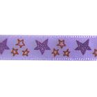 Лента атласная 10 мм ALP-102 (уп. 22,8 м) с рис. Z7/080 звездочки/сиреневый