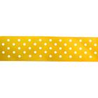 Лента атласная 25 мм с рис. «Горох»  (рул. 22,5 м) №024 бел./жёлтый
