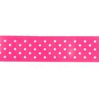 Лента атласная 25 мм с рис. «Горох»  (рул. 22,5 м) №040 бел./розовый