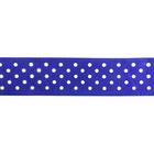 Лента атласная 25 мм с рис. «Горох»  (рул. 22,5 м) №097 бел./синий
