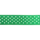 Лента атласная 25 мм с рис. «Горох»  (рул. 22,5 м) №118 бел./зелёный