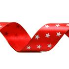 Лента атласная 25 мм с рис. «Звёзды»  (рул. 18 м) красный / белый