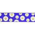 Лента атласная 25 мм с рис. «Ромашки» (рул. 22,5 м) 099 фиолетовый