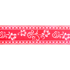 Лента атласная 25 мм с рис. «Узор с цветами»  (рул. 22,5 м) №040 розовый