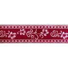 Лента атласная 25 мм с рис. «Узор с цветами»  (рул. 22,5 м) №061 малиновый