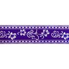 Лента атласная 25 мм с рис. «Узор с цветами»  (рул. 22,5 м) №085 фиолетовый