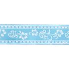 Лента атласная 25 мм с рис. «Узор с цветами»  (рул. 22,5 м) №164 голубой