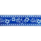 Лента атласная 25 мм с рис. «Узор с цветами»  (рул. 22,5 м) №170 синий