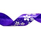 Лента атласная 25 мм с рис. «Цветочки» (рул. 22,5 м) №085 фиолетовый
