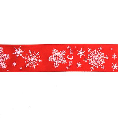 Лента атласная 40 мм с рис. TBY.LDA171 «Снежинки» уп 10 м красный в интернет-магазине Швейпрофи.рф