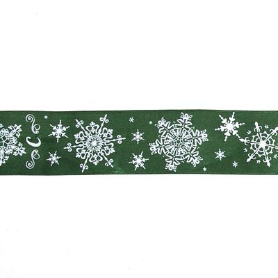 Лента атласная 40 мм с рис. TBY.LDA172 «Снежинки» уп 10 м зелёный в интернет-магазине Швейпрофи.рф