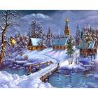 Алмазная мозаика АЖ-1276 «Зима в деревне» 40*60 см
