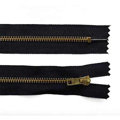 Молния Т4 джинс. авт. 16 см золотоь/черн. в интернет-магазине Швейпрофи.рф