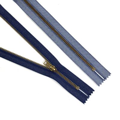 Молния Т4 джинс. авт. 18 см TIT антик/синий джинс в интернет-магазине Швейпрофи.рф