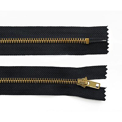 Молния Т4 джинс. авт. 18 см золото/310 черн. в интернет-магазине Швейпрофи.рф