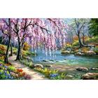 Алмазная мозаика АЖ-1328 «Сакура у реки» 30*40 см