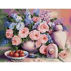 Алмазная мозаика АЖ-1374 «Розовый натюрморт» 50*40 см