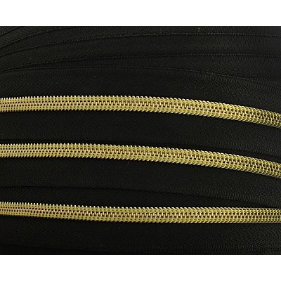 Молния Т5 рулон. спир. (уп. 200 м) золото/черн. в интернет-магазине Швейпрофи.рф