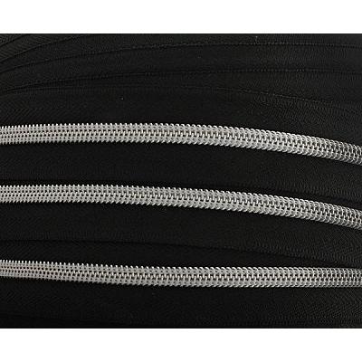 Молния Т5 рулон. спир. (уп. 200 м) серебро/черн. в интернет-магазине Швейпрофи.рф