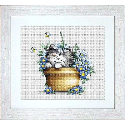 Набор для вышивания Luca-S В1048 «Котенок в цветах» 16*15,5 см в интернет-магазине Швейпрофи.рф