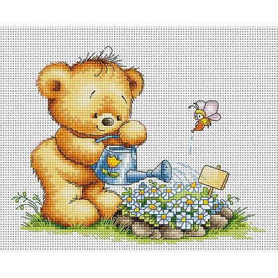 Набор для вышивания Luca-S В1052 «Мишка с незабудками» 13,5*15,5 см в интернет-магазине Швейпрофи.рф