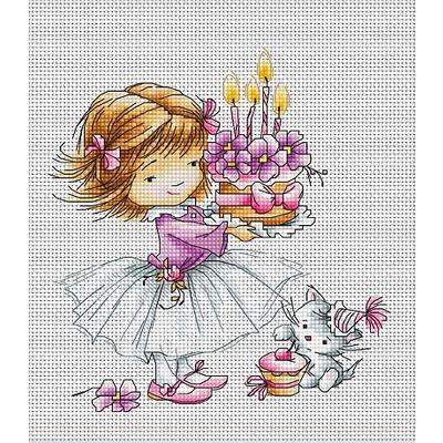 Набор для вышивания Luca-S В1054 «Девочка с котенком» 13,5*14,5 см в интернет-магазине Швейпрофи.рф