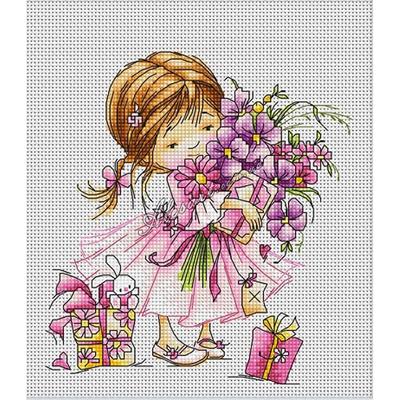 Набор для вышивания Luca-S В1055 «Девочка с букетом» 13,5*14,5 см в интернет-магазине Швейпрофи.рф