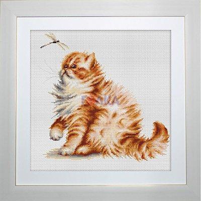 Набор для вышивания Luca-S В2270 «Кошка со стрекозой» 22,5*22 см в интернет-магазине Швейпрофи.рф