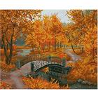 Алмазная мозаика Кристалл на дер.осн. GZ166 «Осенний парк. Мост»
