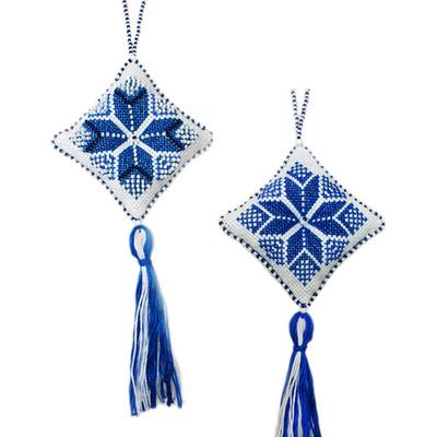 Набор для вышивания Zengana М-008 «Рождественская звезда» синяя 7*7 см в интернет-магазине Швейпрофи.рф